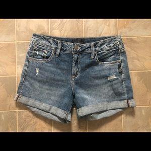 Silver Boyfriend Jean Shorts
